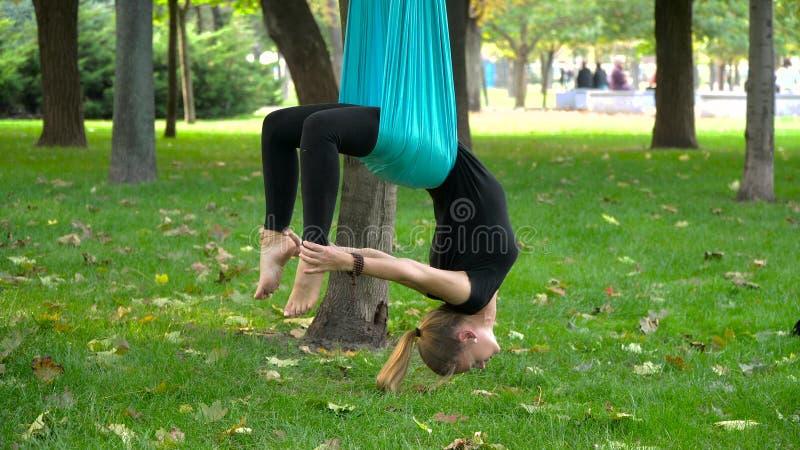 La muchacha en un parque enganchó a yoga aérea foto de archivo libre de regalías