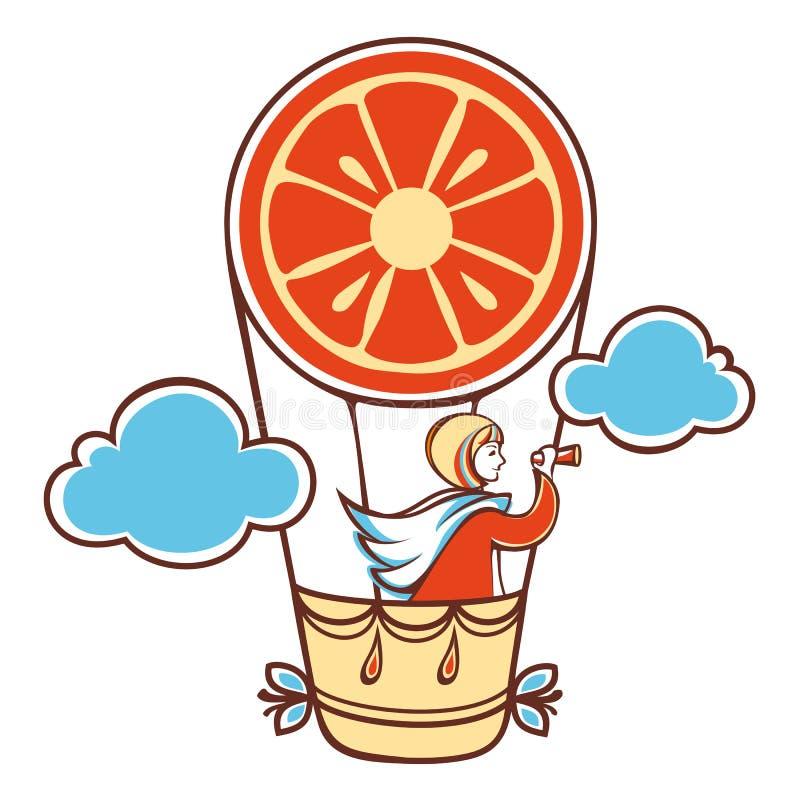 La muchacha en un vestido anaranjado aerostación libre illustration