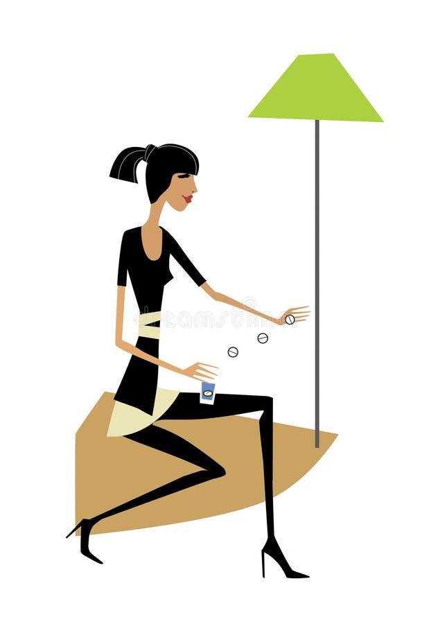 La muchacha en un vestido negro bebe un puñado de píldoras que se sientan debajo de una lámpara de pie verde Aislado en el fondo  stock de ilustración
