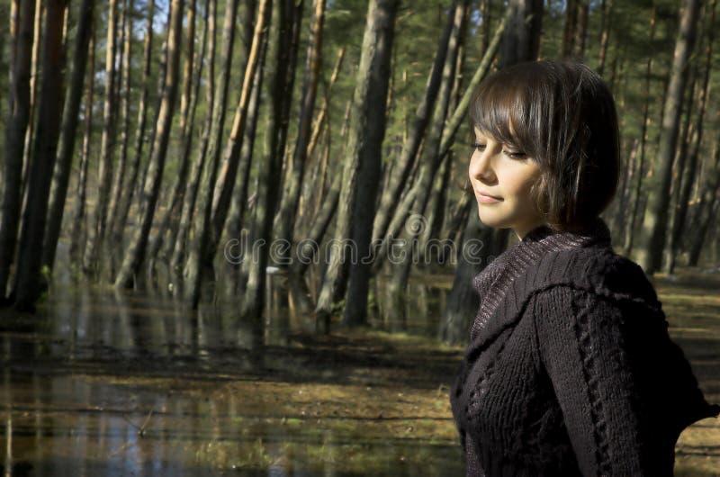 La muchacha en una madera fotografía de archivo libre de regalías