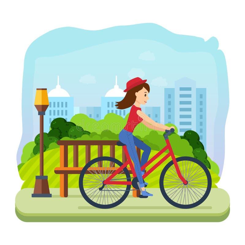 La muchacha en verano viste, montando una bici para el parque de ocio ilustración del vector