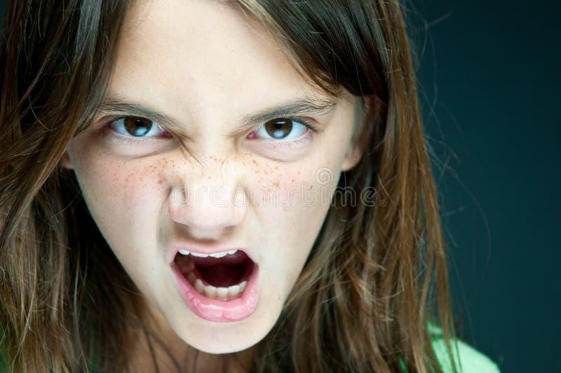 La muchacha enojada imagenes de archivo