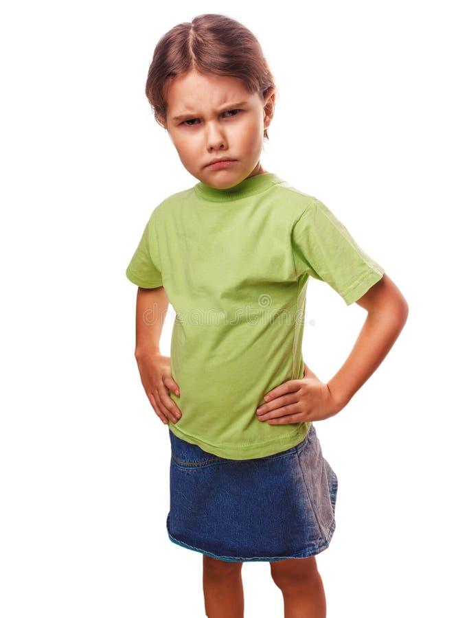 La muchacha enojada malvada de los niños muestra experimentar de los puños foto de archivo libre de regalías