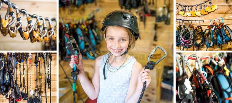 La muchacha equipada lista para las altas cuerdas cursa, collage imagen de archivo libre de regalías