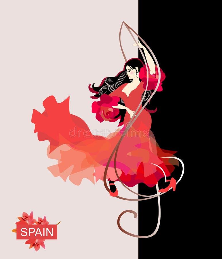 La muchacha española en un vestido rojo, con un dobladillo altísimo llameante, está bailando flamenco La clave de sol es como un  ilustración del vector