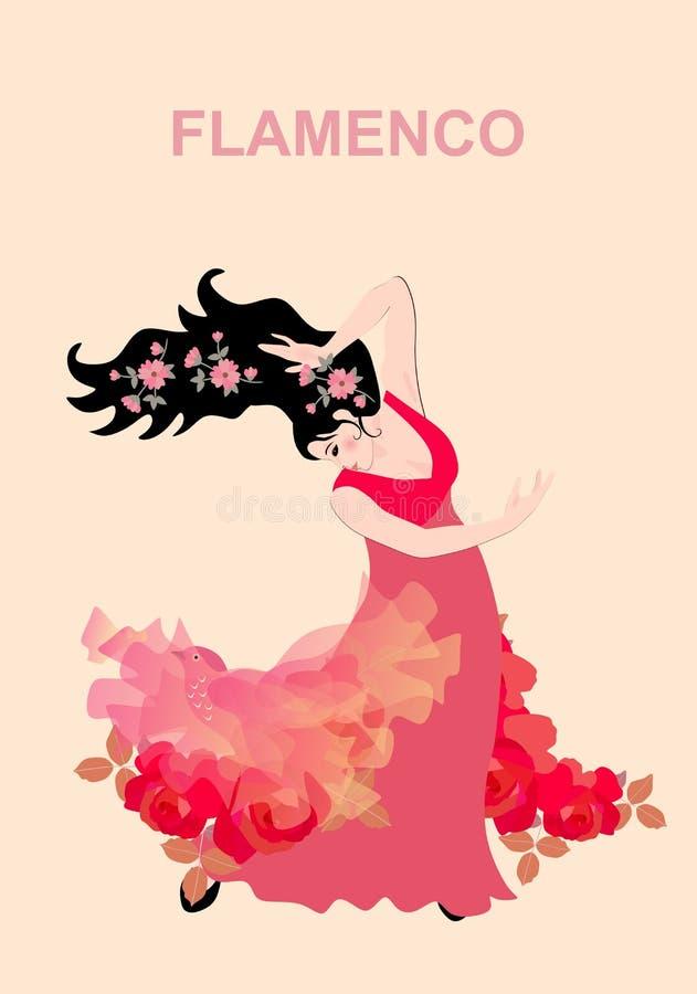 La muchacha española vestida en el vestido rojo largo, adornado con las guirnaldas de rosas y con las pequeñas flores en su pelo, stock de ilustración