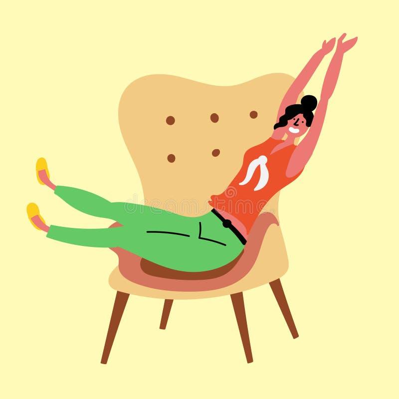 La muchacha está descansando sobre la silla y está estirando el cuerpo libre illustration