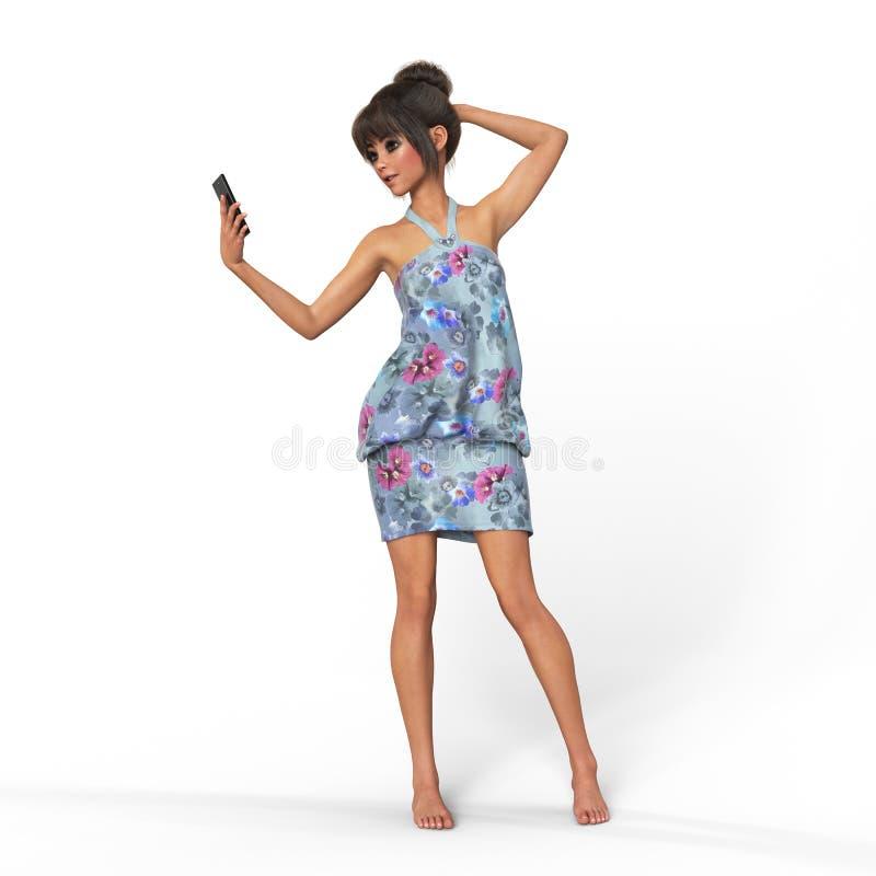 La muchacha está utilizando la representación del smartphone 3d foto de archivo