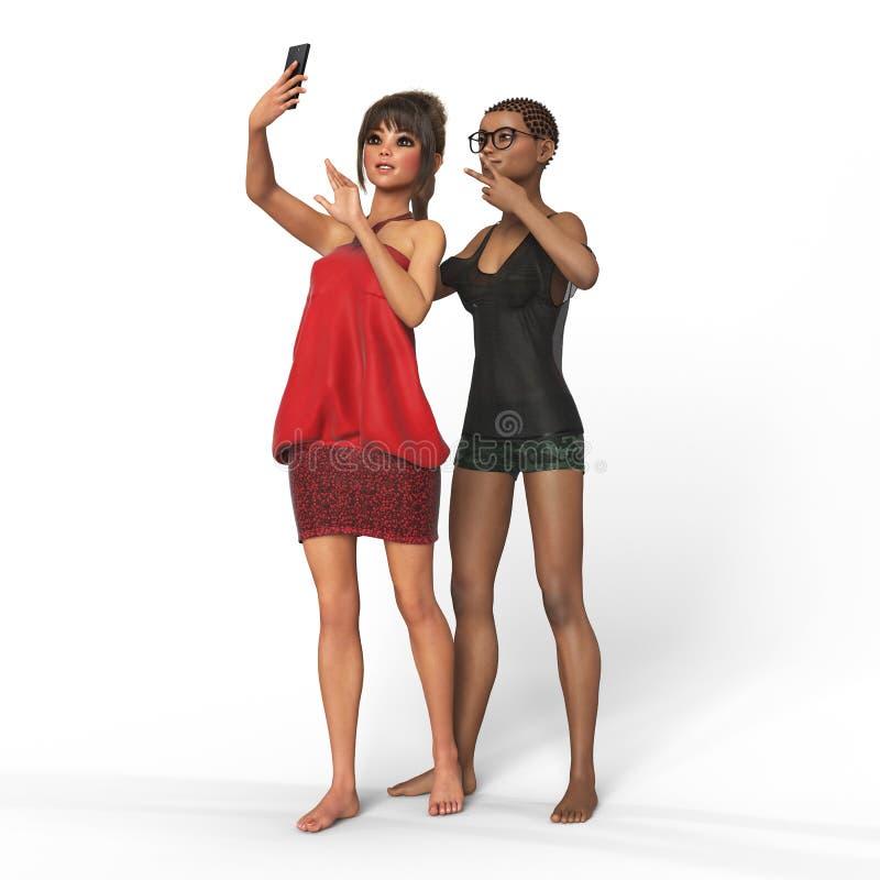 La muchacha está utilizando la representación del smartphone 3d imagen de archivo libre de regalías