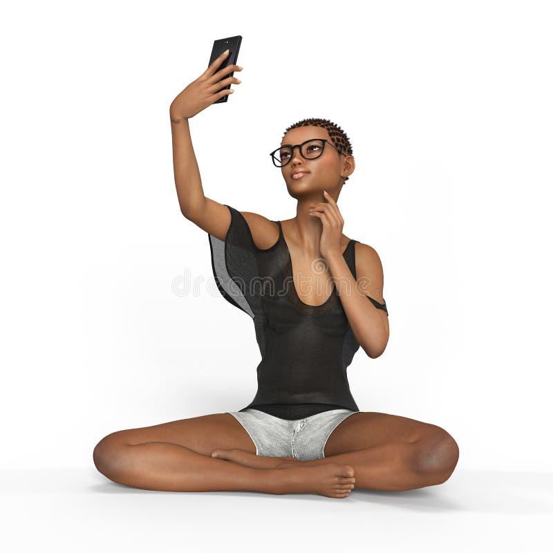 La muchacha está utilizando la representación del smartphone 3d fotografía de archivo libre de regalías