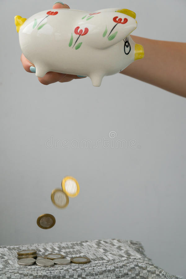 La muchacha está vaciando la hucha Hucha bajo la forma de cerdo pintado Un puñado de monedas foto de archivo