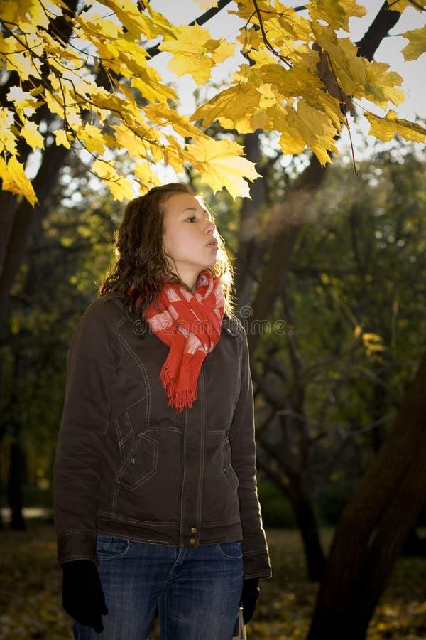 La muchacha exhala la nube del vapor fotos de archivo