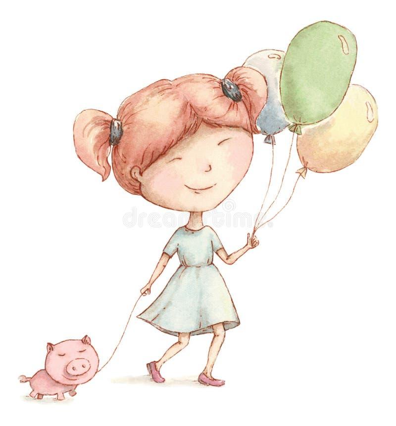 La muchacha feliz camina con un cochinillo y los globos stock de ilustración