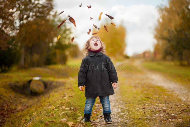 La muchacha feliz del niño lanza las hojas y las risas de otoño en el parque fotografía de archivo libre de regalías