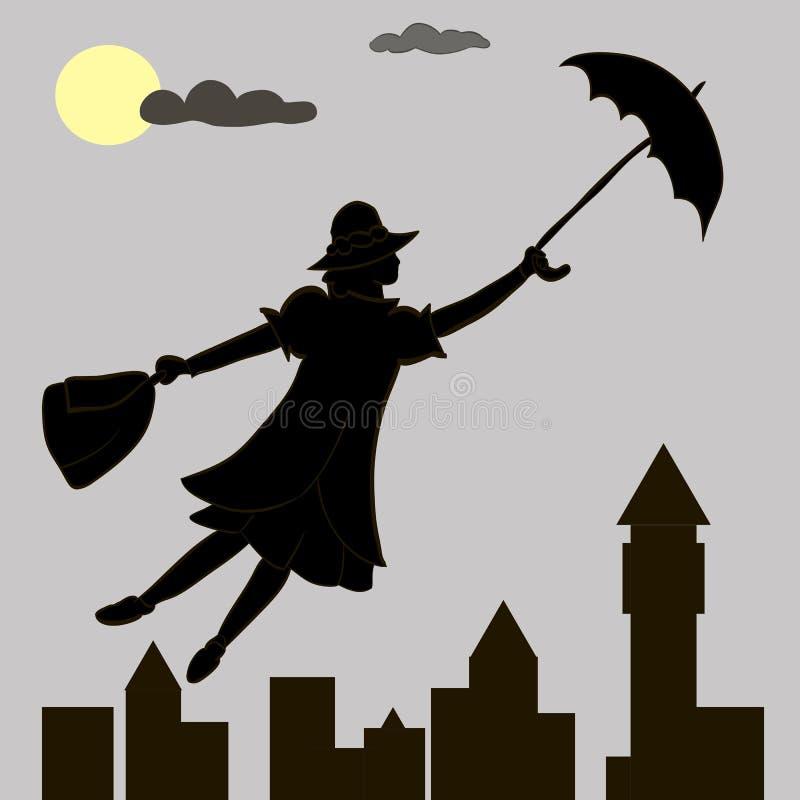 La muchacha flota debajo de la luna con un paraguas en su mano ilustración del vector