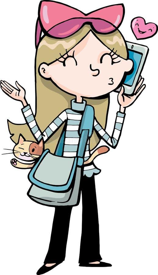 La muchacha habla con un teléfono móvil y lleva un gato ilustración del vector
