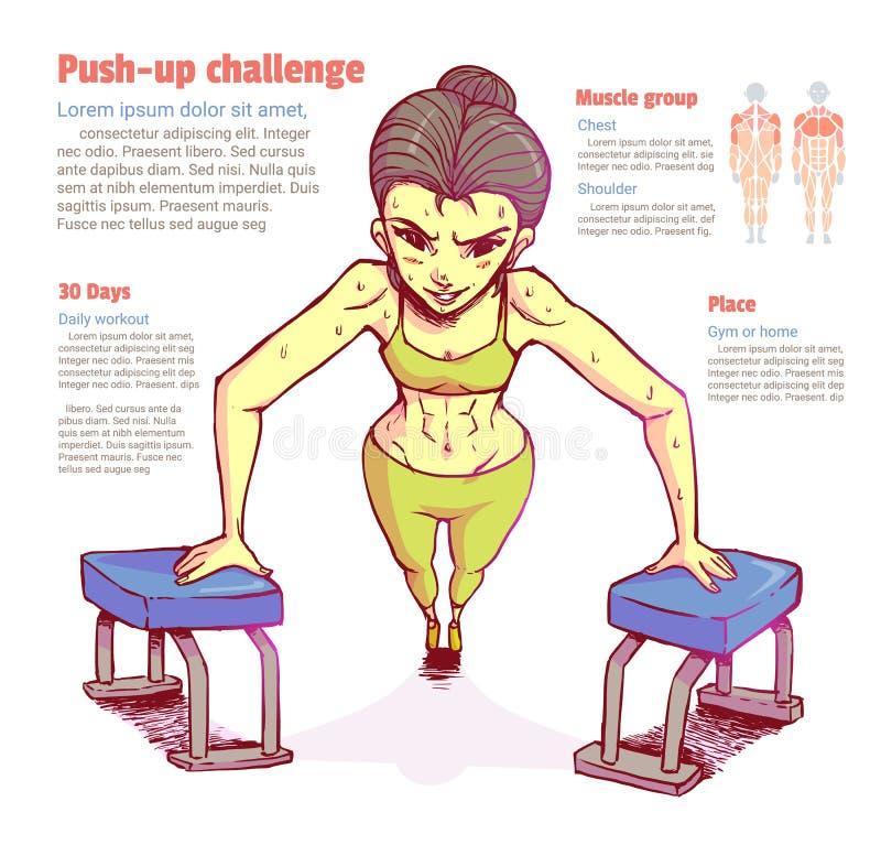 La muchacha hace que el ejercicio por empuje hacia arriba libre illustration