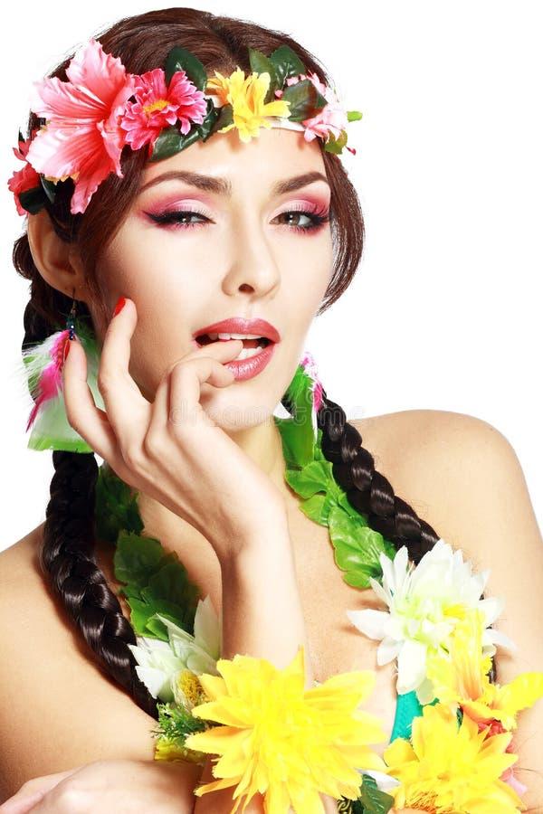 La muchacha hawaiana compone foto de archivo