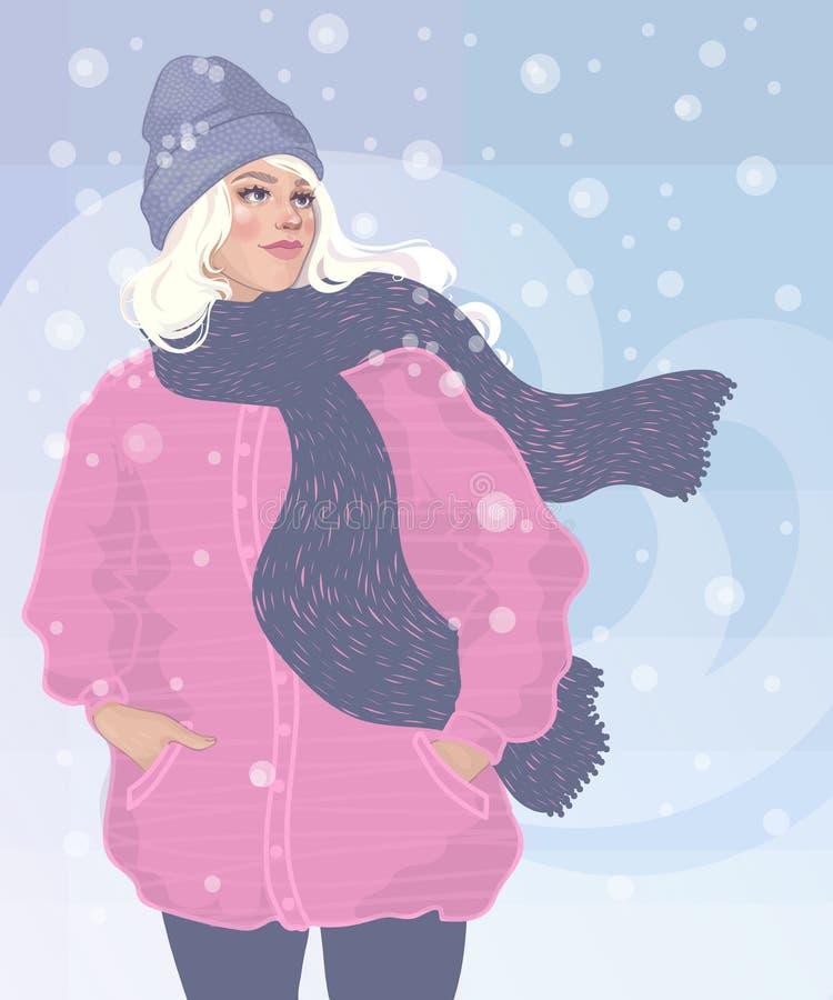 La muchacha hermosa camina en el invierno en una ventisca ilustración del vector