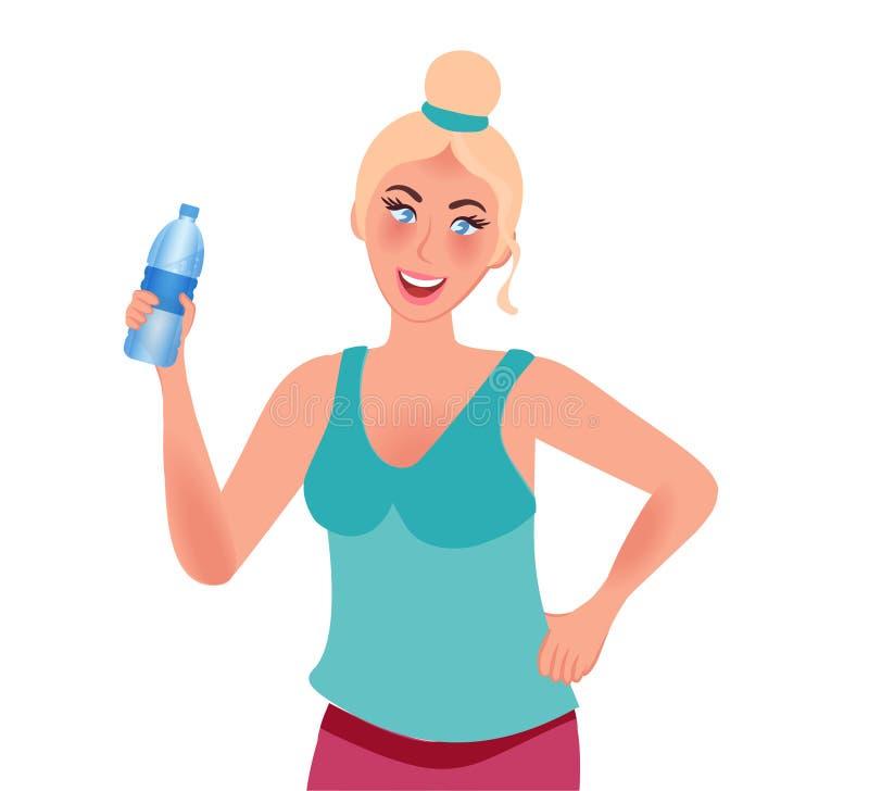 La muchacha hermosa delgada con una cintura fina sonríe y sostiene una botella de agua forma de vida y deportes sanos Gráficos de stock de ilustración