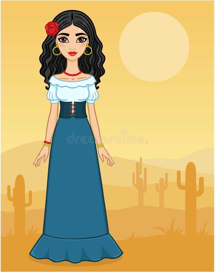 La muchacha hermosa en ropa antigua libre illustration