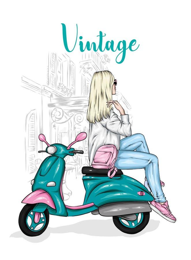 La muchacha hermosa en un elegante se cierra se sienta en un ciclomotor del vintage Ejemplo del vector para la postal o el cartel foto de archivo