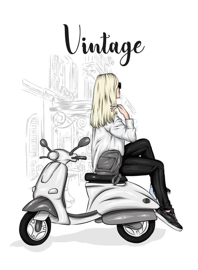 La muchacha hermosa en un elegante se cierra se sienta en un ciclomotor del vintage Ejemplo del vector para la postal o el cartel foto de archivo libre de regalías