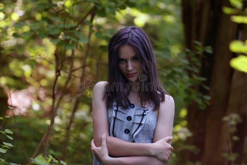 La muchacha hermosa en vestido coloca y mira la cámara fotografía de archivo libre de regalías