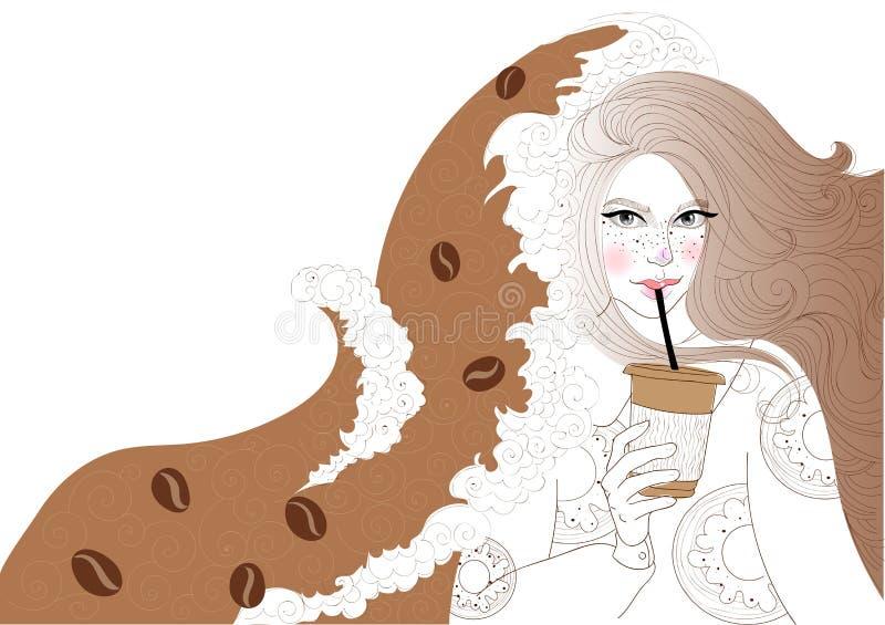 La muchacha hermosa está bebiendo el café ilustración del vector