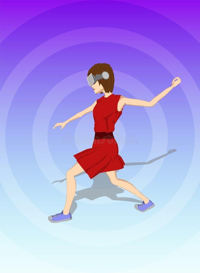 La muchacha lanza para arriba su mano en auriculares de la realidad virtual libre illustration