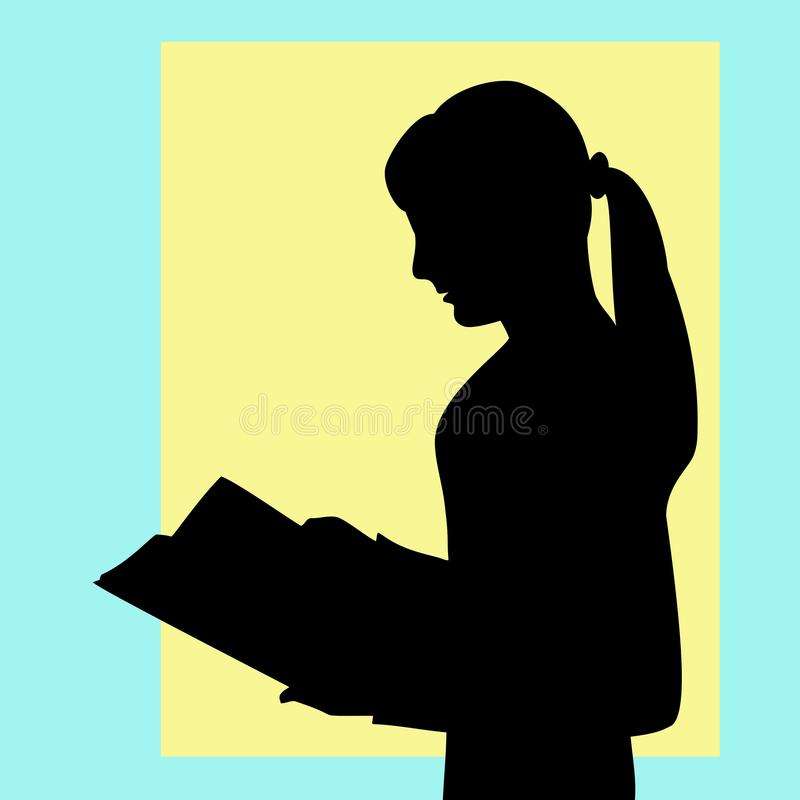 La muchacha lee el libro cuidadosamente, recibe la nueva información, preparación ilustración del vector