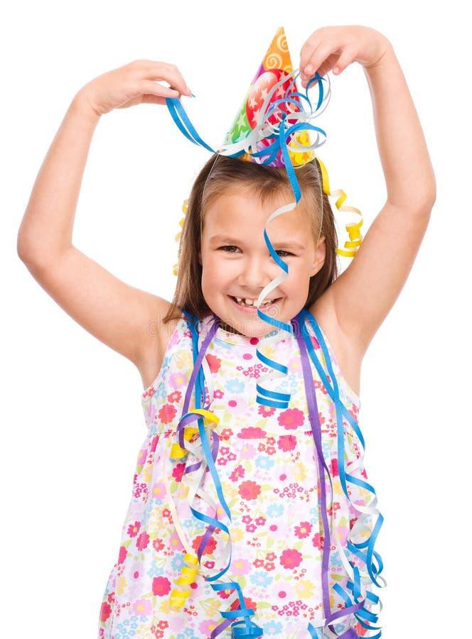 La muchacha linda celebra su cumpleaños fotos de archivo