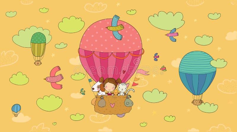 La muchacha linda de la historieta y sus amigos están volando en un globo Poco princesa, pollo, gato y perrito stock de ilustración
