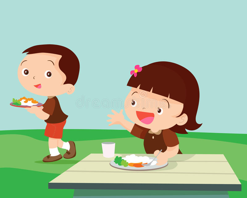 La muchacha linda del estudiante saluda al amigo stock de ilustración
