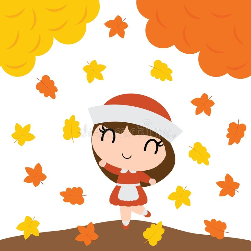 La muchacha linda del peregrino es feliz detrás del ejemplo de la historieta del vector de los árboles de arce para el diseño de  libre illustration