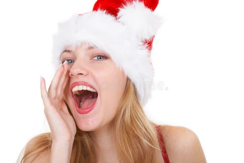La muchacha llama Año Nuevo fotografía de archivo libre de regalías