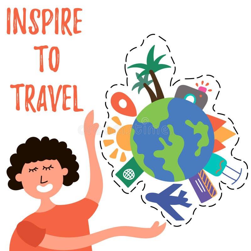 La muchacha llama para viajar en todo el mundo libre illustration