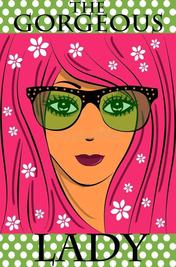 La muchacha magnífica de los vidrios ilustración del vector