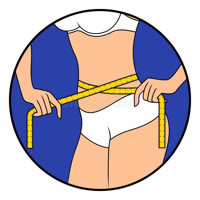 La muchacha mide el tamaño de su cintura stock de ilustración