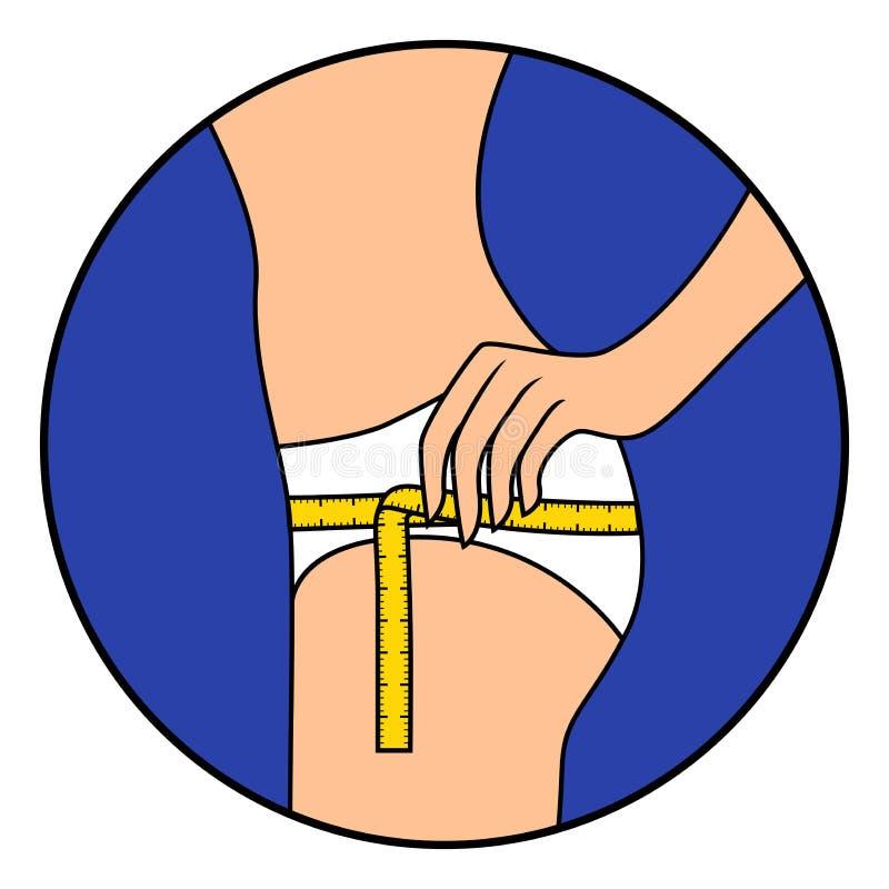 La muchacha mide el tamaño de su muslo con la cinta stock de ilustración