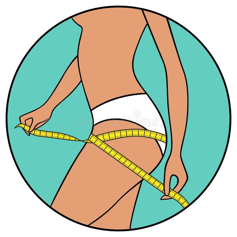 La muchacha mide el tamaño de sus muslos stock de ilustración