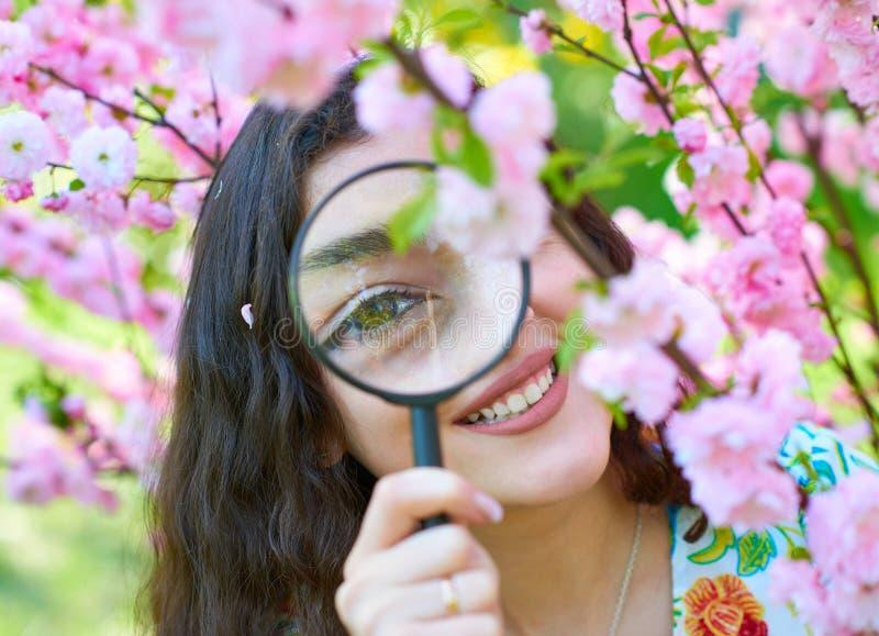 La muchacha mira a través de la lupa las flores rosadas, estudiando las plantas - concepto del entrenamiento y de la botánica imagen de archivo