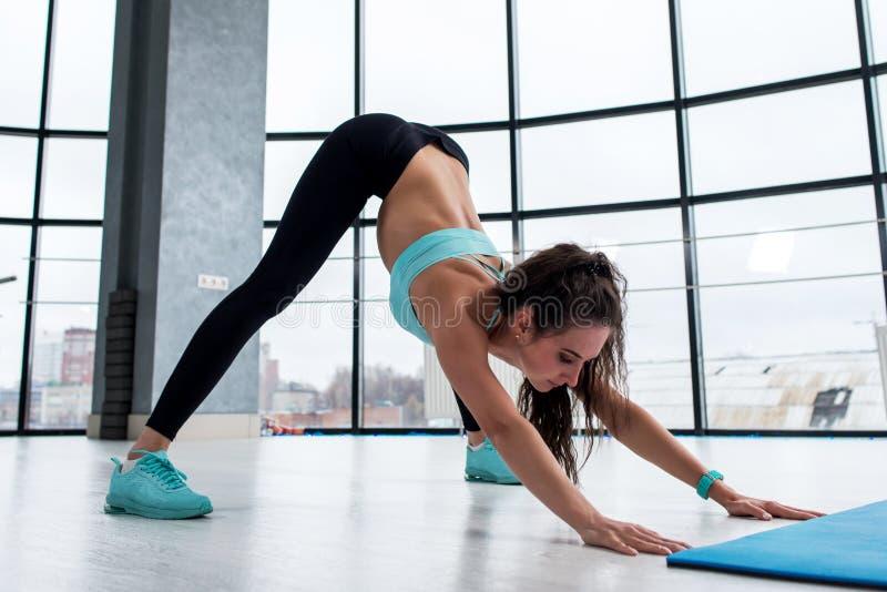 La muchacha morena atractiva del ajustado que resolvía dentro la ejecución de postura de la yoga llamó el perro boca abajo con pa fotos de archivo libres de regalías