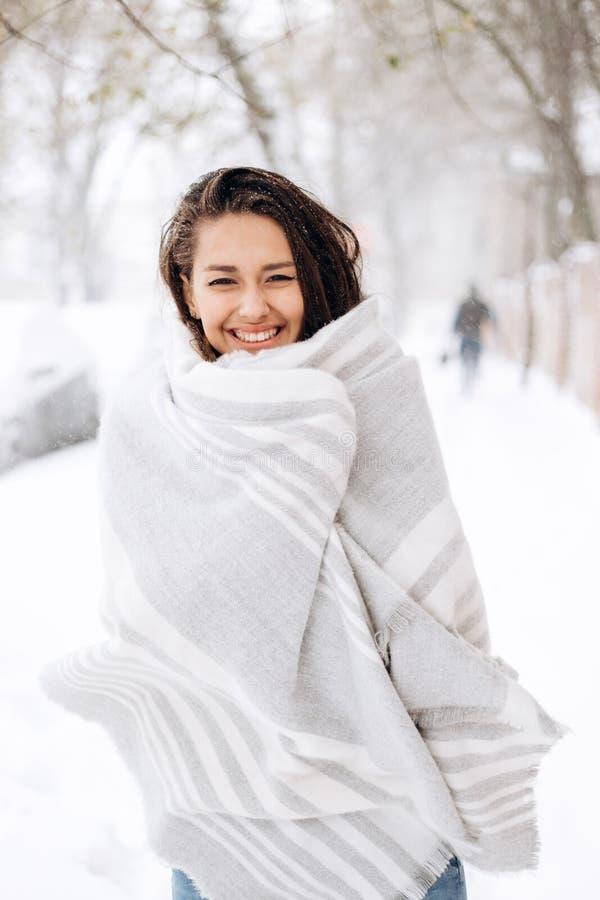 La muchacha oscuro-cabelluda sonriente envuelta en una bufanda gris se está colocando en una calle nevosa en un día de invierno foto de archivo