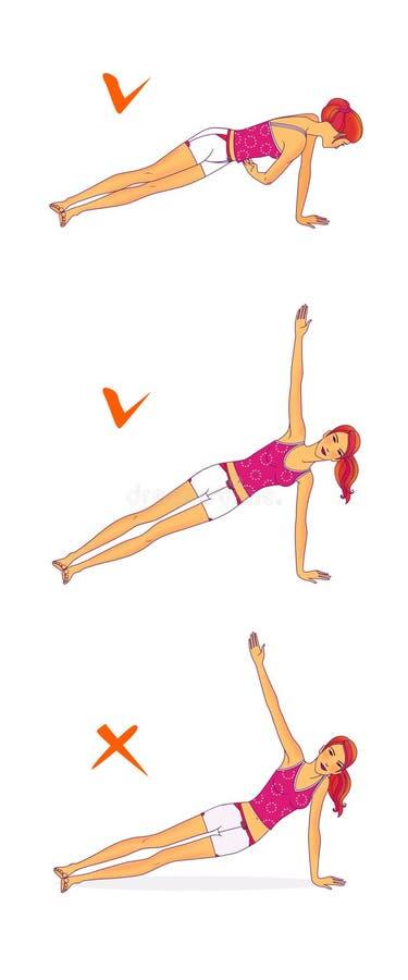 La muchacha pelirroja realiza el ejercicio, dando vuelta a los troncos stock de ilustración