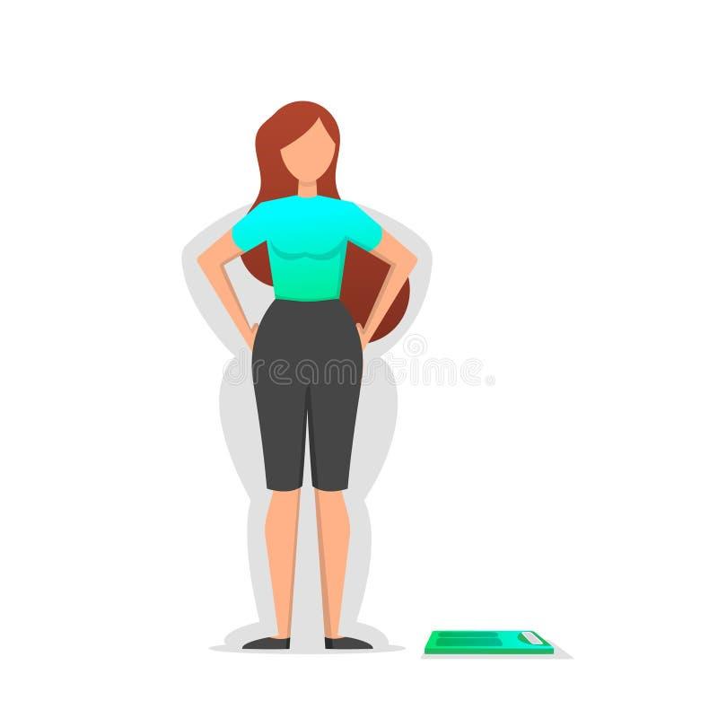 La muchacha piensa en peso y pérdida de peso que pierden Problemas de salud libre illustration