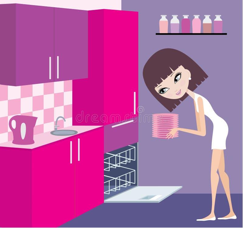 La muchacha pone las placas en el lavaplatos libre illustration