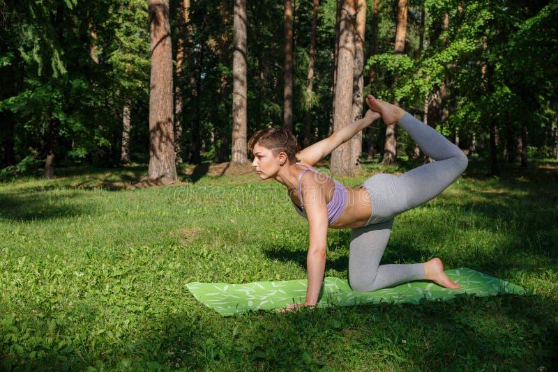 La muchacha practica yoga en el parque en un día soleado imagenes de archivo