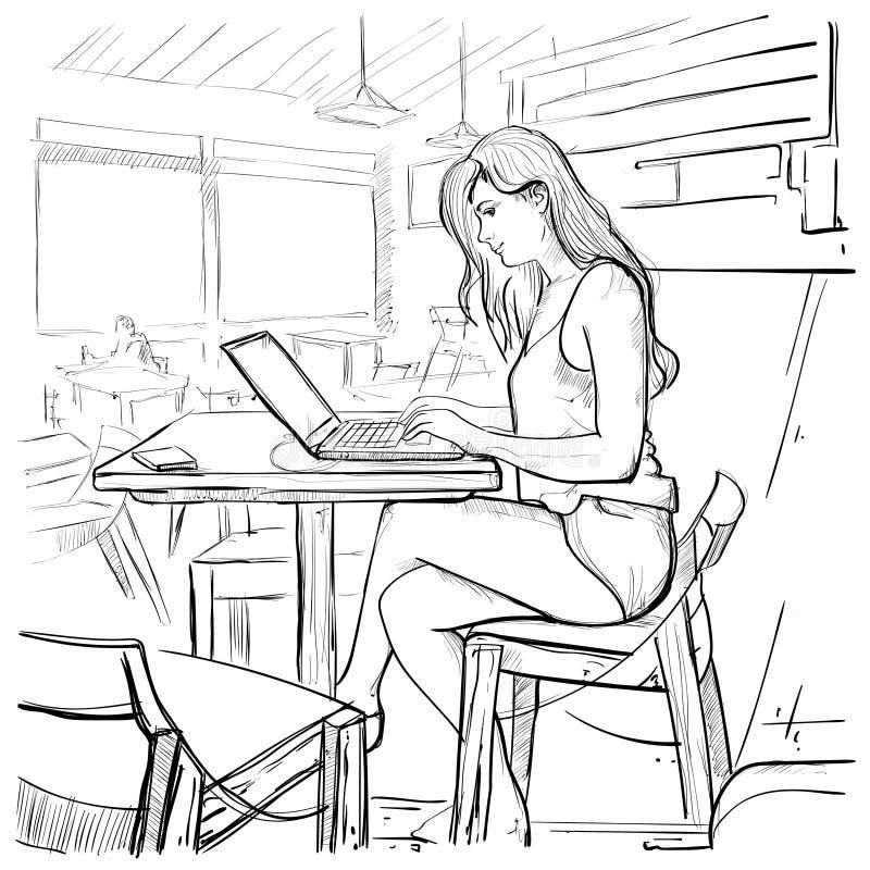 La muchacha que mecanografía en el ordenador portátil, bosqueja a la mujer joven que charla la sentada en línea en interior de la ilustración del vector