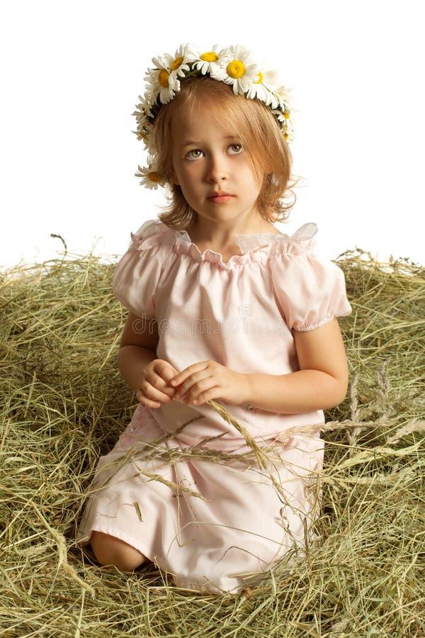 La muchacha que se sienta en el heno foto de archivo